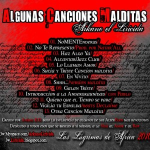 Trasera: Arkano El Liricida - Algunas canciones malditas