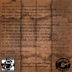 Trasera: DNJ presents - Muzik G. mixtape Vol. 1