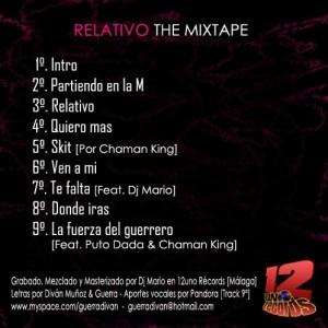 Trasera: Divan y Guerra - Relativo (the mixtape)