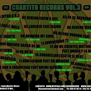 Trasera: El Veneno Crew - Cuartito records Vol.3