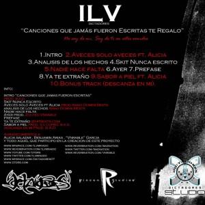 Trasera: Ilv - Canciones que jamas fueron escritas te regalo