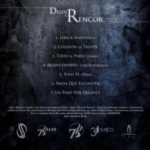 Trasera: Lírica Sinfónica - Desde el rencor