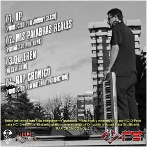 Trasera: Necio13 - Rap crónico Vol. 2