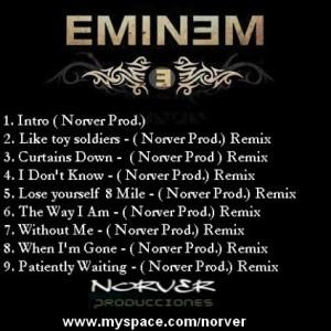 Trasera: Norver Producciones - Eminem (Remixes)