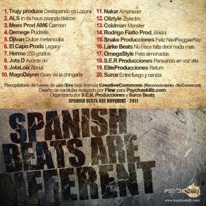Trasera: Varios producctores - Spanish beats are different (Instrumentales)