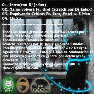 Trasera: Zirok - Bajo mi ventana la promo