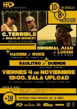 C. Terrible, Shaolin Monkey, Original Juan, Lucho y más en Barcelona