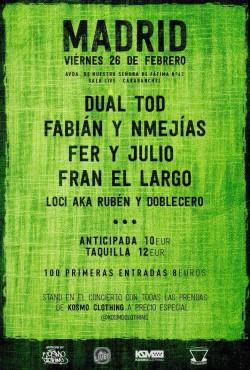 Dual TOD, Syto, Fabián, NMejías y más en Madrid