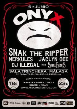 Onyx, Snak The Ripper, Merkules, Jaclyn Gee y más en Málaga