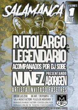 PutoLargo, Legendario, Dj Sobe, Nuñez y más en Salamanca