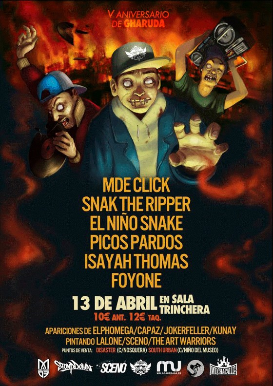 V aniversario de gharuda en m laga concierto hip hop groups for Sala trinchera